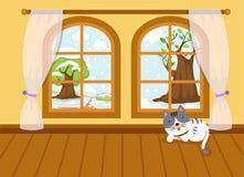 Paisagem do inverno fora da janela ilustração do vetor