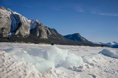 Paisagem do inverno do lago Abraham, Alberta fotografia de stock royalty free