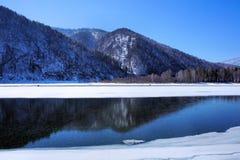 Paisagem do inverno Lago de madeira sob a neve e o gelo Inverno Imagens de Stock Royalty Free