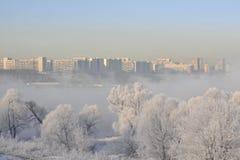 Paisagem do inverno na cidade fotos de stock
