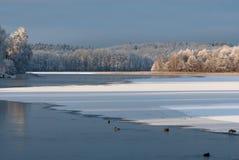 Paisagem do inverno na costa oeste na Suécia foto de stock