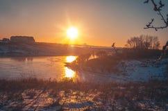 Paisagem do inverno na natureza da neve Fotos de Stock Royalty Free