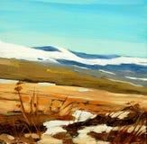 Paisagem do inverno nas montanhas espanholas, pintando ilustração royalty free