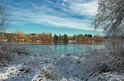 Paisagem do inverno no parque do lago deer na cidade de Burnsby Imagens de Stock