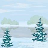 Paisagem do inverno. Rio da floresta ilustração stock