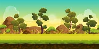 Paisagem do jogo da floresta e das pedras 2d para aplicações móveis e computadores dos jogos Ilustração do vetor para sua água fr Imagem de Stock