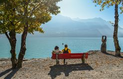 Paisagem do lago Brienz, Suíça fotos de stock royalty free