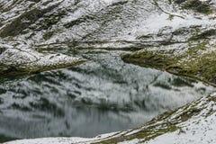 Paisagem do lago e dos cumes das montanhas imagem de stock
