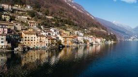 Paisagem do lago Lugano, Tessin, Gandria fotos de stock royalty free