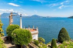 Paisagem do lago Maggiore da ilha Bella de Borromean, Itália Fotografia de Stock Royalty Free