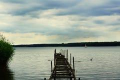 Paisagem do lago Miedwie, Stargard, Polônia Fotos de Stock