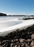 Paisagem do lago springtime com a borda do gelo fotografia de stock