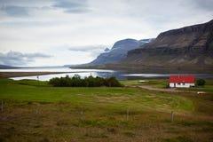Paisagem do leste do fiorde da natureza de Islândia Fotografia de Stock Royalty Free