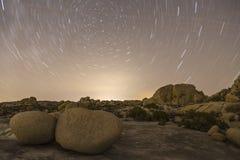 Paisagem do Lit da estrela da noite do parque nacional de árvore de Joshua Fotografia de Stock Royalty Free