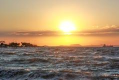 Paisagem do litoral de Iskenderun do mar Mediterrâneo oriental fotos de stock royalty free