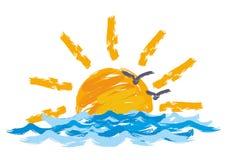 Paisagem do mar com um por do sol Imagem de Stock Royalty Free