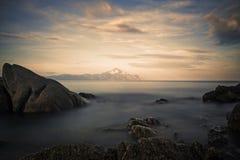 Paisagem do mar com vista em Monte Athos Fotografia de Stock Royalty Free