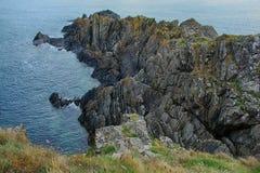 Paisagem do mar dos penhascos, perto de Eyemouth, de Northumberland e das beiras escocesas Imagens de Stock Royalty Free