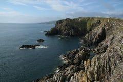 Paisagem do mar dos penhascos, perto de Eyemouth, de Northumberland e das beiras escocesas Fotos de Stock Royalty Free