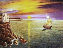 Paisagem do mar, pintura a óleo. Fotos de Stock Royalty Free