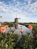 Paisagem do moinho de vento em Holland Imagem de Stock