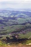 Paisagem do montanhas com abeto e o vale verde Foto de Stock Royalty Free