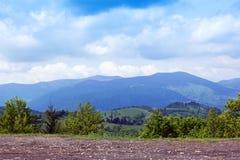 Paisagem do montanhas de Carpathians com árvores verdes e marrom Foto de Stock Royalty Free