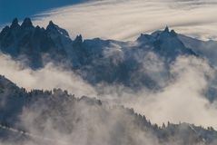 Paisagem do Monte Branco da neve de Chamonix imagens de stock