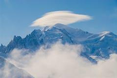 Paisagem do Monte Branco da neve de Chamonix imagens de stock royalty free