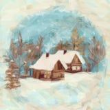 Paisagem do Natal, casas da vila Fotos de Stock
