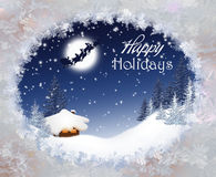 Paisagem do Natal com Santa Claus Imagens de Stock Royalty Free