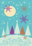 Paisagem do Natal do inverno com a floresta da árvore de abeto Imagens de Stock Royalty Free