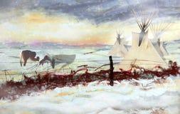 Paisagem do nativo americano ilustração do vetor