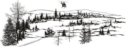 Paisagem do norte Chegada do helicóptero ilustração do vetor