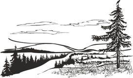 Paisagem do norte com corvo ilustração royalty free