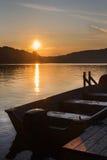 Paisagem do norte do por do sol do lago Imagem de Stock Royalty Free