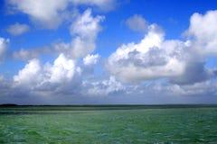 paisagem do oceano do verde esmeralda com os céus azuis em Islamorada nas chaves de Florida Fotos de Stock Royalty Free