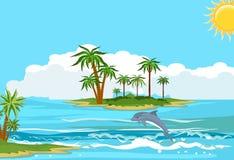 Paisagem do oceano, golfinhos que exercem nas ondas ilustração stock