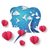 Paisagem do origâmi dos desenhos animados Ilustração da menina de papel Fotografia de Stock