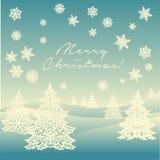 Paisagem do ornamento do Feliz Natal Imagens de Stock