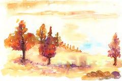 Paisagem do outono da aquarela Foto de Stock Royalty Free