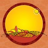 Paisagem do outono do vintage no quadro redondo Foto de Stock Royalty Free