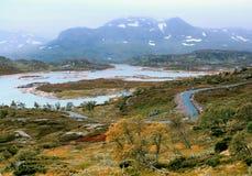 Paisagem do outono em Noruega fotos de stock