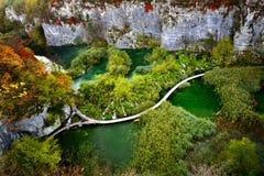 Paisagem do outono no parque nacional dos lagos Plitvice, Croatia Imagem de Stock