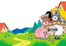 Paisagem do país com animais de exploração agrícola ilustração royalty free