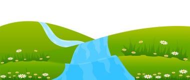 Paisagem do país com rio ilustração royalty free
