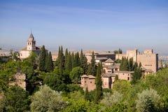 Paisagem do palácio proeminente de Alhambra fotos de stock