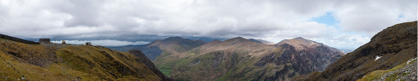 Paisagem do panorama de Snowdonia antes da tempestade Fotografia de Stock Royalty Free