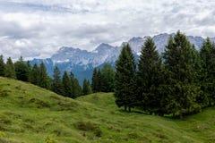 Paisagem do panorama em Baviera com montanhas dos cumes e no prado na mola Imagens de Stock Royalty Free