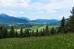 Paisagem do panorama em Baviera com montanhas dos cumes e no prado na mola Fotos de Stock